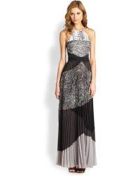 BCBGMAXAZRIA Clarissa Pleated Halter Dress - Lyst