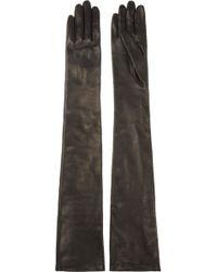Lanvin Long Leather Gloves - Black