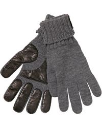 Saint Laurent Leather Wool Knit Gloves - Grey