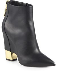 Giuseppe Zanotti Leather Cutout Wedge Ankle Boots - Lyst