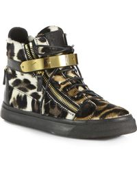 Giuseppe Zanotti Leopard-Print Calf Hair & Leather Lace-Up Sneakers - Lyst