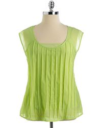 Jessica Simpson Plus Elderberry Sheer Pintucked Top - Lyst
