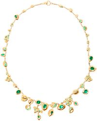 Natasha Collis | Emerald And 18K Gold Nugget Necklace | Lyst