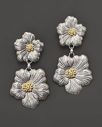 Buccellati Blossom 1 Small 1 Medium Blossom Flower Pendant Earrings with Gold Accents - Metallic