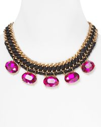 Cara Accessories Embellished Ribbon Necklace 17 purple - Lyst