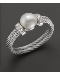 Charriol - Stainless Steel Classique Pearl Ring with Diamonds 005 Ct Tw - Lyst