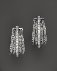 Charriol - Classique Collection Nautical Cable Earrings With Diamonds, .08 Ct. T.W. - Lyst