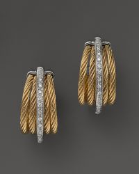 Charriol - Classique Collection Nautical Cable Earrings With Diamonds, .08 C.T. Tw. - Lyst