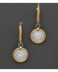 Charriol Classique 18k White Gold and Yellow Stainless Steel Nautical Cable Earrings with Diamonds and White Sapphires