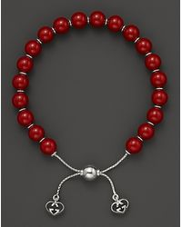 Gucci Love Britt S Sterling Silver and Red Varnished Wood Bead Bracelet - Lyst