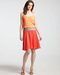 Halston Heritage Color Block Dress Tie Shoulder - Lyst