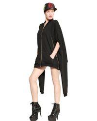 Jeremy Scott Front Zip Cotton Terry Sweat Shirt Dress - Black