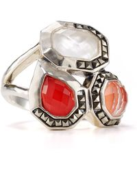 Judith Jack - Sterling Silver Marcasite Coral Mother Of Pearl Ring - Lyst
