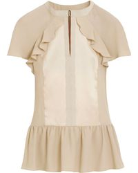 Mulberry Frill Peplum Blouse - Natural