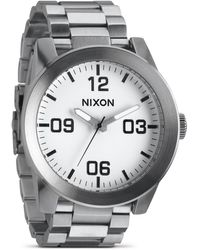 Nixon The Corporal Stainless Steel White Watch 48mm - Lyst