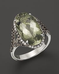 Badgley Mischka Green Amethyst Cocktail Ring with White and Brown Diamonds - Metallic