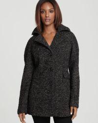 Calvin Klein Hooded Tweed Pea Coat - Lyst