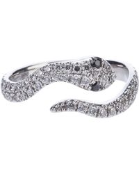 Elise Dray - White Gold and Diamond Snake Ring - Lyst