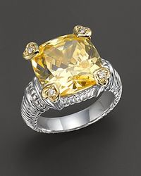Judith Ripka Sterling Silver Canary Stone Heart Prong Ring - Metallic