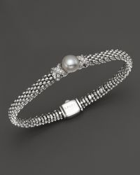 Lagos Sterling Silver Luna Button Pearl Diamond X Rope Bracelet - Lyst
