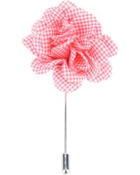 Lanvin Checked Print Flower Brooch - Red