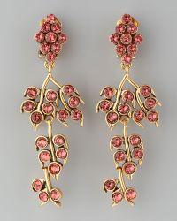 Oscar de la Renta Crystal Vine Clip Earrings - Lyst