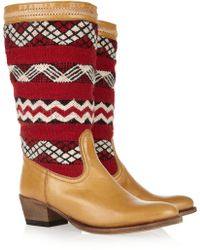 Cobra Society Alcazar Wool and Leather Midcalf Boots red - Lyst