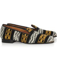 Cobra Society Najet Woven Wool and Leather Loafers yellow - Lyst