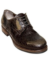 Ink - Textured Washed Leather Laceup Shoes - Lyst