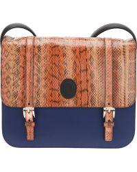 Trussardi Snakeskin Color Block Satchel - Blue