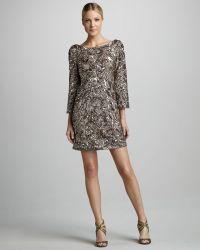 Marchesa Sequined Silk Tunic Dress - Lyst