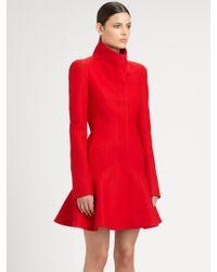 Alexander McQueen Wool Crepe Flounce Coat - Red