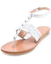 Belle By Sigerson Morrison Rollie Studded Flat Sandals - Lyst
