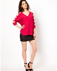 Boulee Blouse with Split Sleeves - Pink