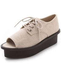 Cheap Monday - Peep Toe Oxford Flatforms - Lyst