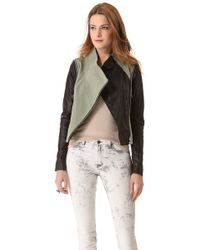 Cut25 by Yigal Azrouël Leather Combo Jacket - Green