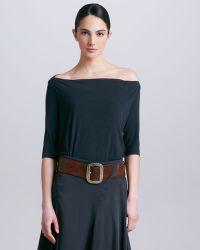 Donna Karan New York Womens Offtheshoulder Tee Asphalt - Lyst