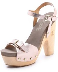 Flogg - Cassie Metallic Platform Clog Sandals - Lyst