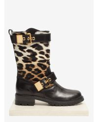 Giuseppe Zanotti Leopard Calfhair and Leather Biker Boots - Lyst