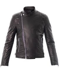 Gucci Leather Biker Jacket black - Lyst