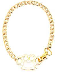 Guns Germs $teal Gold-Plated Knuckle Duster Necklace gold - Lyst