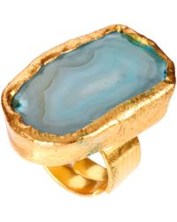 Kasturjewels 22kt Gold Plated Statement Ring with Semi Precious Stone - Blue