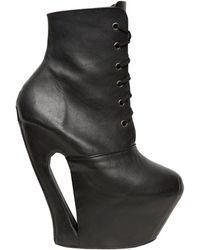 KTZ 160mm Leather Lace Up Platform Boots - Black