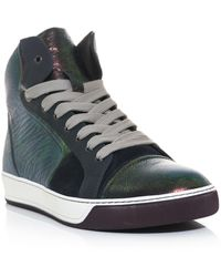 Lanvin Irredescent Hightop Trainers - Lyst