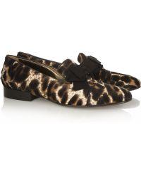 Lanvin Leopard-print Calf Hair Loafers - Lyst
