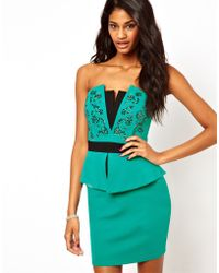 Lipsy Structured Peplum Dress with Embellished Bust - Green