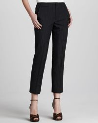 Marc Jacobs Womens Pinstriped Slim Ankle Pants Black - Lyst