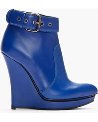 McQ by Alexander McQueen Blue Leather Slim Wedge Biker Boots - Lyst