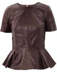 McQ by Alexander McQueen Peplum Leather Top - Lyst