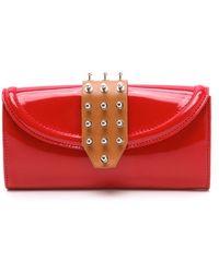 McQ Collar Stud Flap Wallet - Red